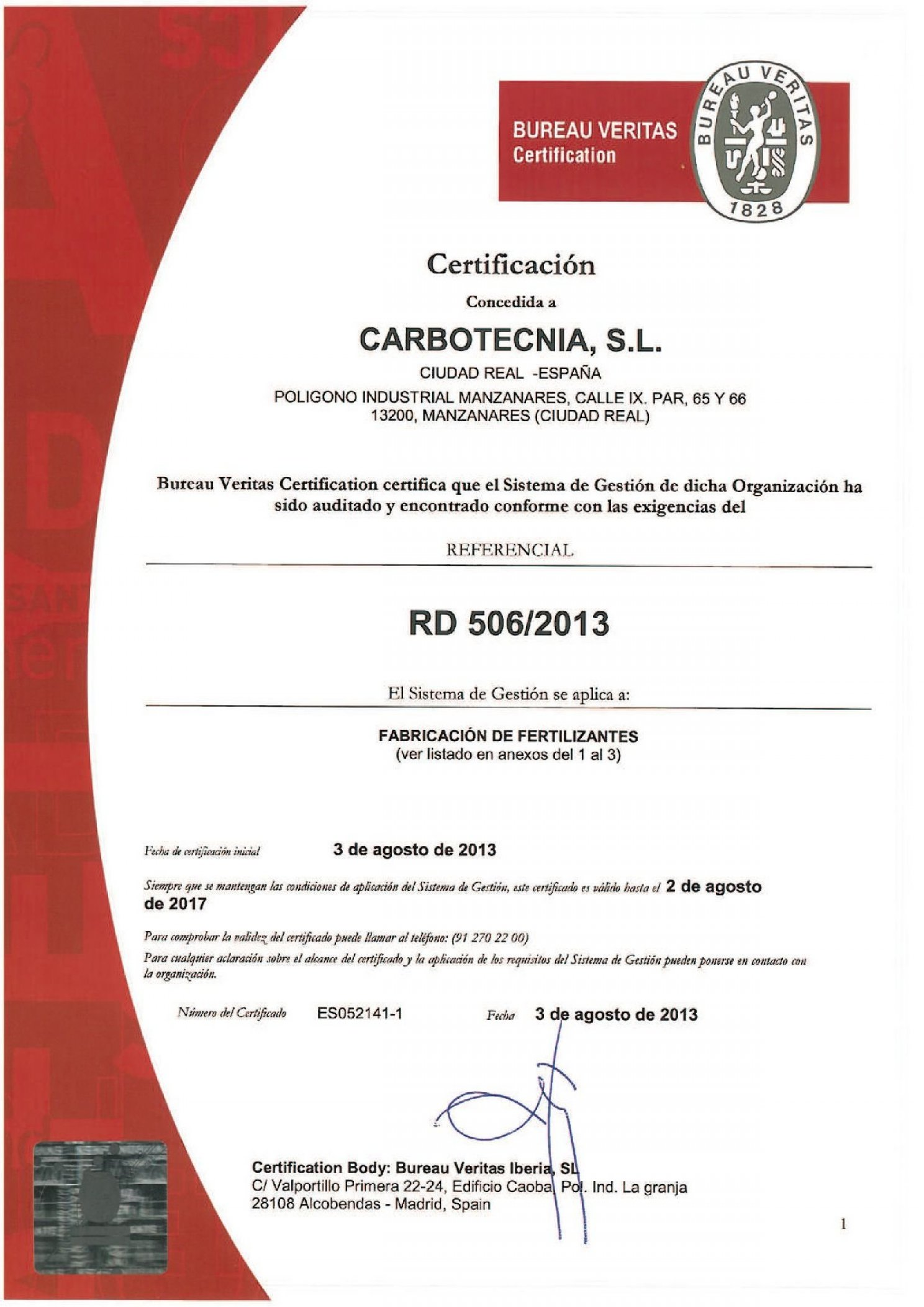 RD 506/2013 Certification