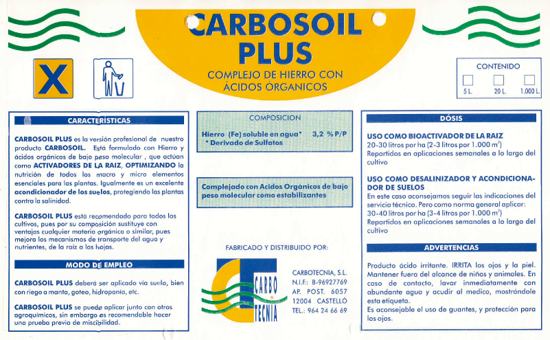 Antigua etiqueta de Carbosoil Plus fertilizantes