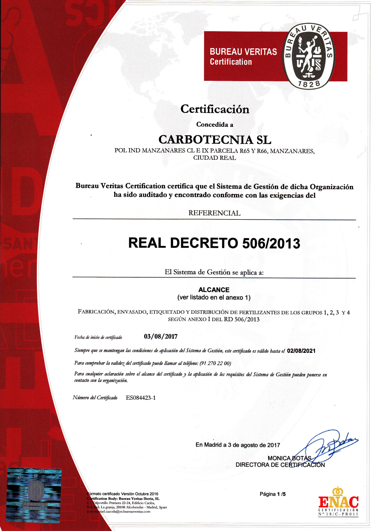 Certification RD 506/2013
