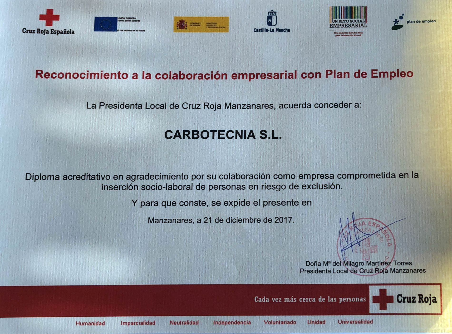 Carbotecnia receives the recognition from Red Cross